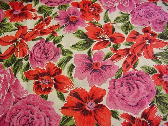 Oh Happy Day - Bright Vintage 60s 70s Floral Fabric - Pink, Red Orange, Avocado Green
