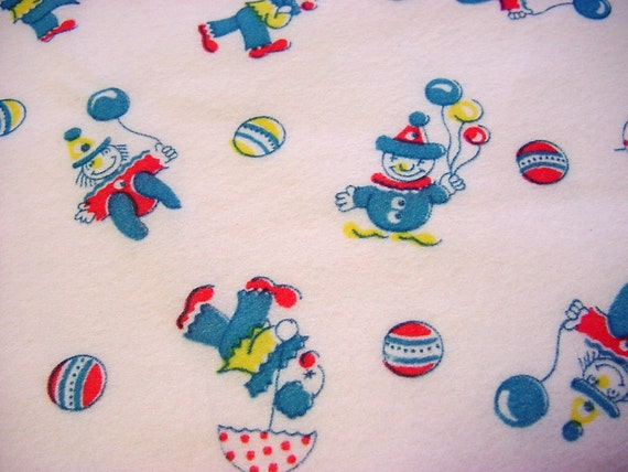 Happy Little Circus Clowns on Pink - Vintage Juvenile Baby Fabric - Balloons & Polka Dots - 2 yards