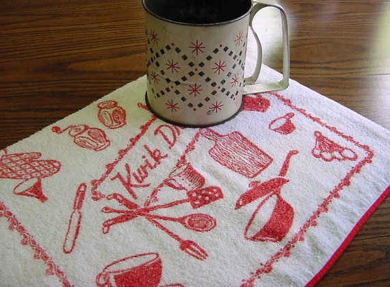 "Vintage 50s ""Kwik Dry"" Terrycloth Hand Towel - Red Red Kitchen Items"