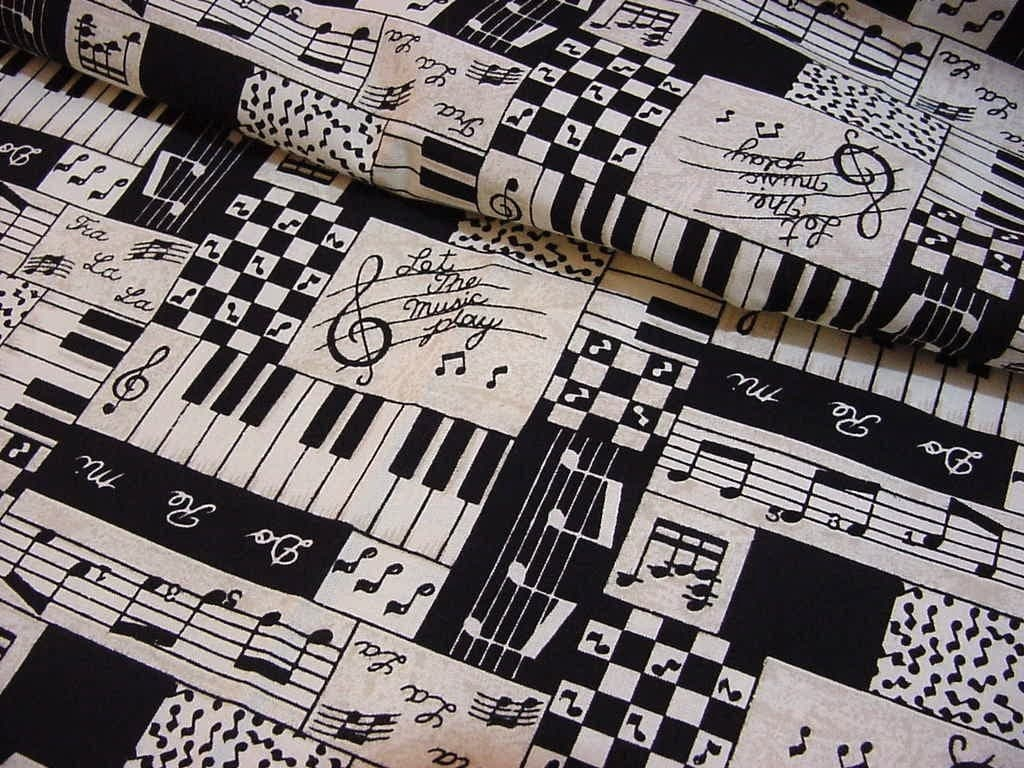 let the music play 1996 musical cotton fabric music notes