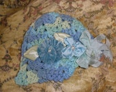 Lily Bum Moody Blues Crocheted Baby Girl Fairy Hat with Blue Handmade Flowers