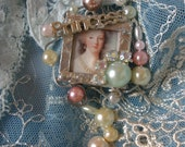 Miladies Baubles Marie Antionette Inspired Princess Wired Pendant with Pearls and Rhinestones
