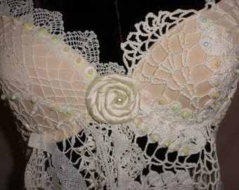My Ladies Linens Oh So Feminine White on White Butterfly Vintage Doily Bra Top with Sequins and Beadwork