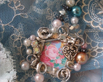 Miladies Baubles Garden Inspired Wired Pendant with Pearls Rhinestones and a Heart Charm