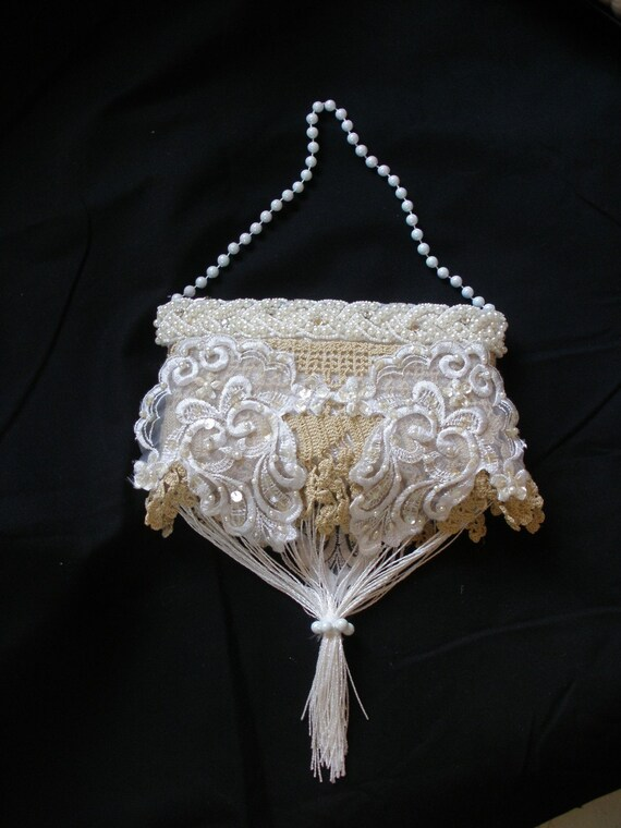 Third Ivory Wedding Purse with Vintage Lace and Fringe