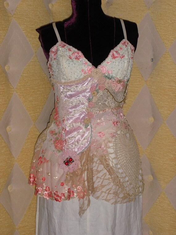 Palace of Winds Collection Amira Harem Style Beaded Princess Bouse with Silk Roses and Embroidered French Ribbon Work