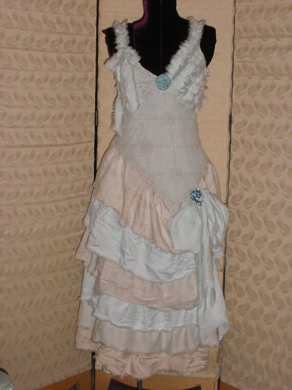 My Ladies Linens Scullery Maid Robins Nest Zombie Ragdolly Dress Tea Stained in Soft Shades of Aqua