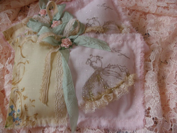 Handstamped Bonjour Glittered French Dress Lavender Pillowette Sachets with Vintage Lace and Ribbons and Pink rose