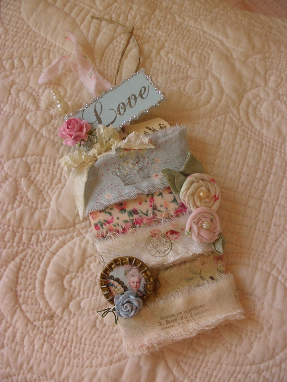 Parisian Inspirational Five yards Plus Hand Stamped Shabby Chic Fabric ribbons with Extras on a French Hang Tag