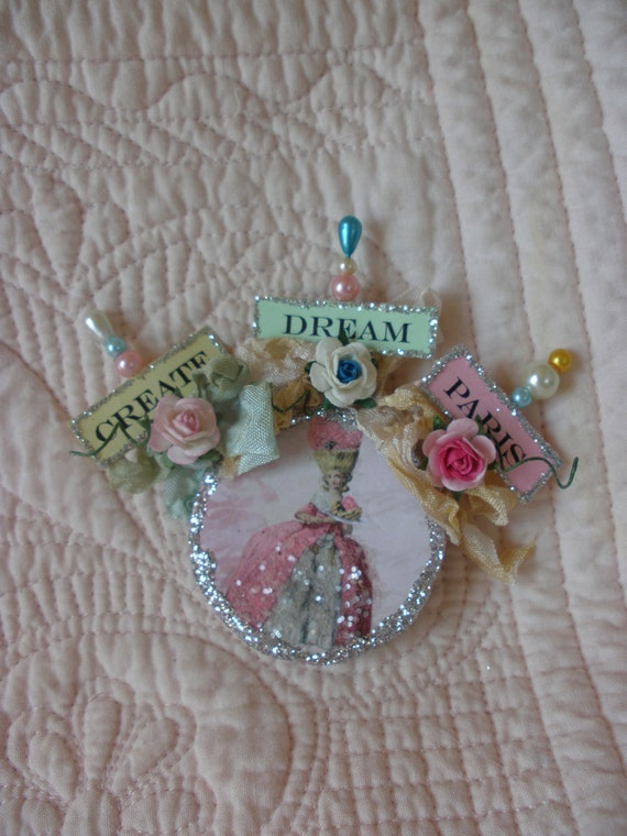 A Trio of  Marie Antionette Beaded Inspirational Pins for Scrap Booking