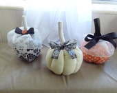 Bibbidi Bobbidi Boo,  Fabric Pumpkin Trio, Spooky Halloween Decorations, Shabby Chic, French Country, Spooky Chic