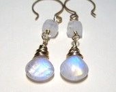 AAA Rainbow Moonstone Earrings 14K Gold Filled Wire Wrapped Dangle Earrings