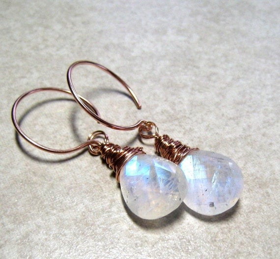 AAA Rainbow Moonstone Earrings 14K Rose Gold Hand Wire Wrapped Pear Shape Dangle Earrings