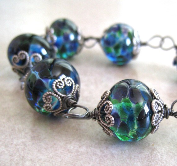 Lampwork Glass Bracelet Boro Glass Bead Bracelet Hand Wire Wrapped in Sterling Silver Black Friday Etsy