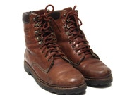 vintage 80s CAMEL leather lace up sherpa lined HIKING BOOTS mens 7