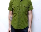 SAFARI STYLE deep green 70s short sleeve button up