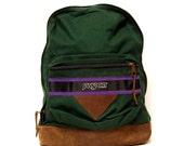 LEATHER JANSPORT green canvas triangle BACKPACK