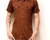 SOUTHWESTERN cotton short sleeve NATIVE AMERICAN button up shirt