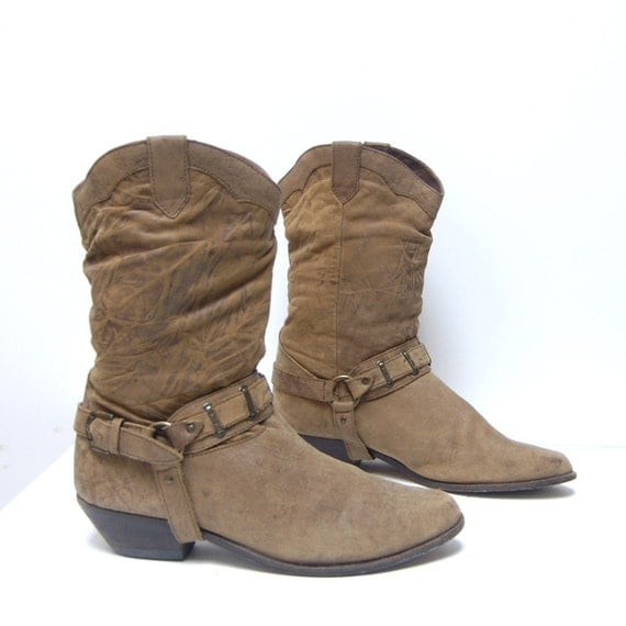BIKER camel sueded leather HARNESS buckle SLOUCHY boots mens 10