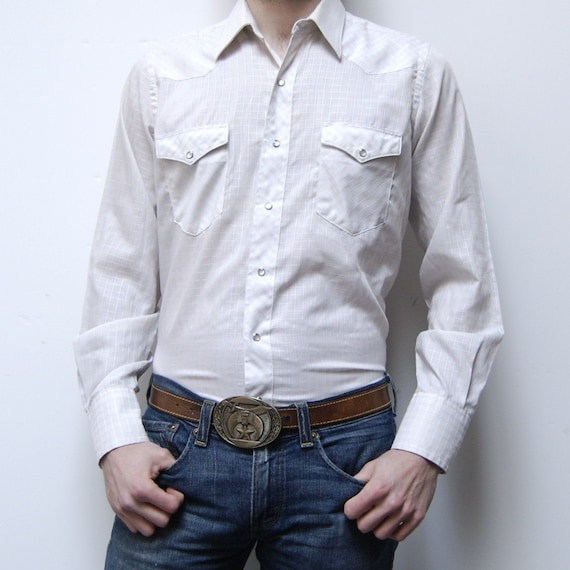 WHITE WESTERN long sleeve GRID pattern pearl snap button shirt