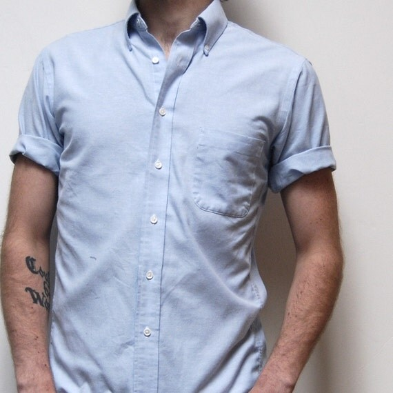 vintage OXFORD light blue cotton SPRING short sleeve button up SIZE 15