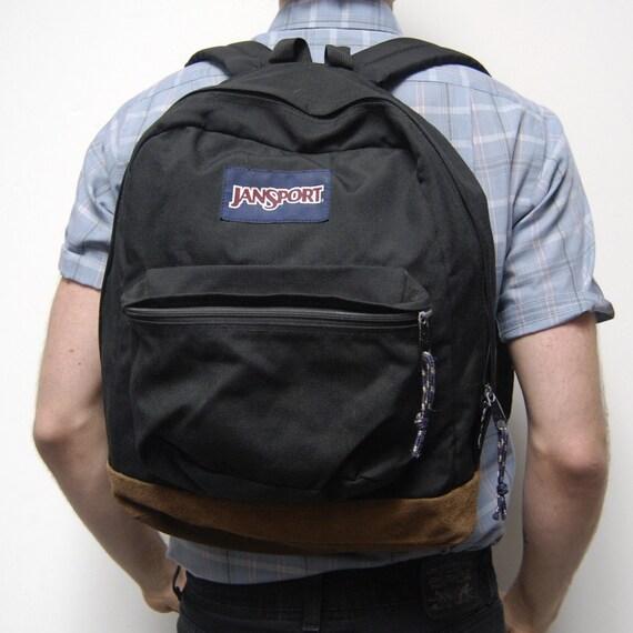 vintage 80s LEATHER black canvas JANSPORT backpack made in