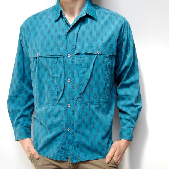 SOUTHWESTERN turquoise cotton NATIVE AMERICAN long sleeve button up shirt