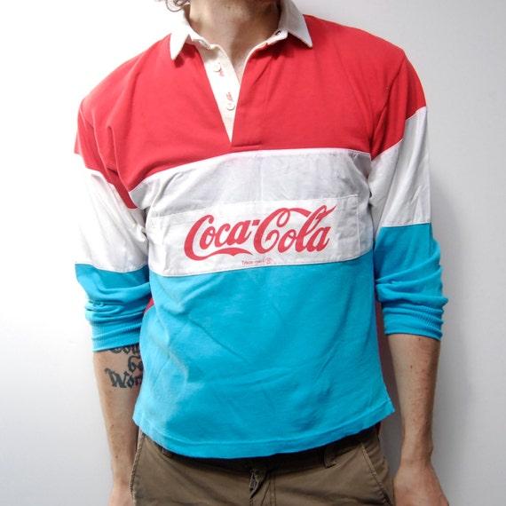 Coca Cola 80s Long Sleeve Cotton Small Polo Shirt