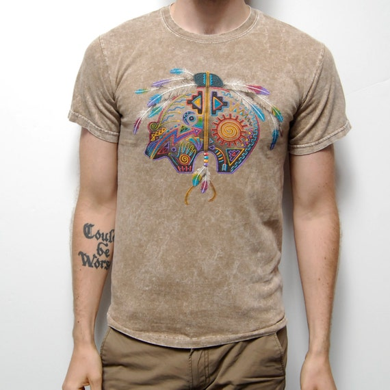 NATIVE AMERICAN acid wash desert tan SMALL t-shirt