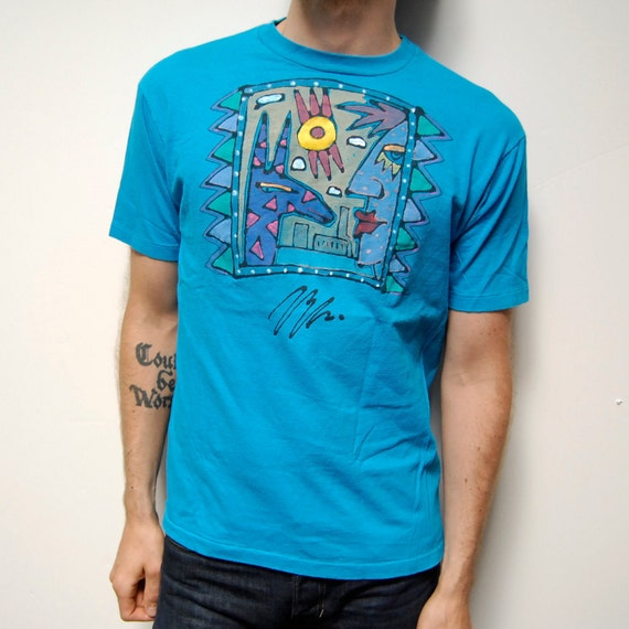 90s ART print teal blue COTTON t-shirt made in USA