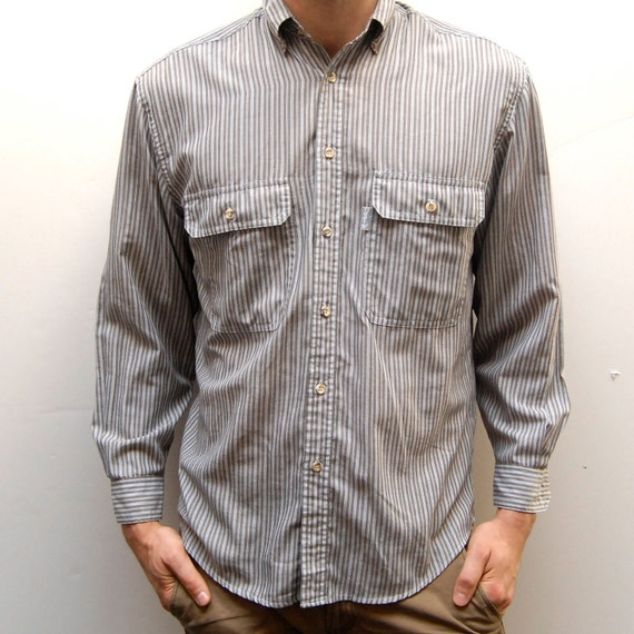 LEVIS engineer soft 80s STRIPED SMALL button up shirt