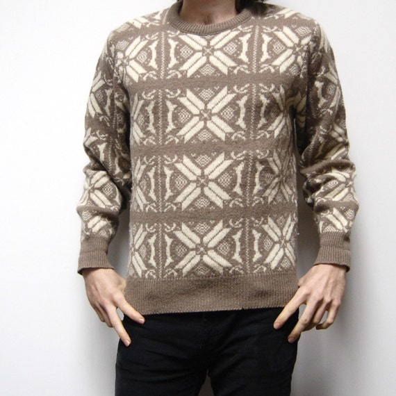 NORDIC folk pattern thick KNIT two tone SWEATER made in usa.