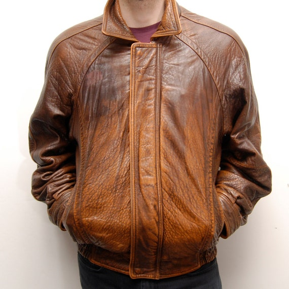 AVIATOR JACKET aged leather bomber coat