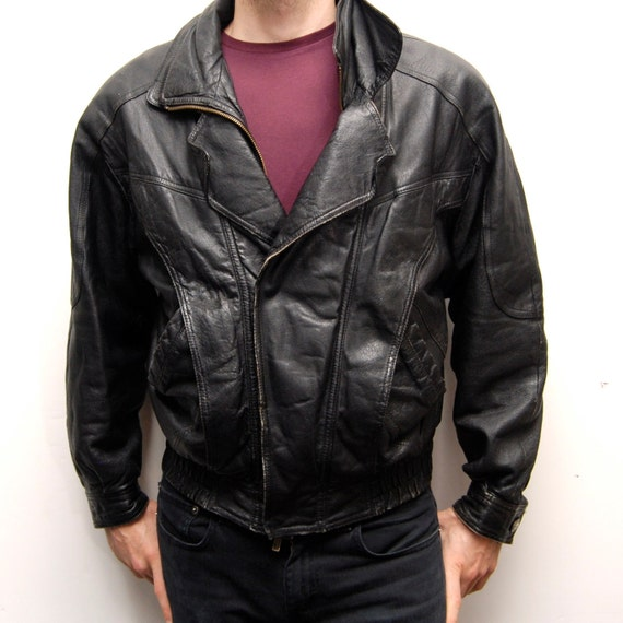 MOTORCYCLE JACKET black leather SMALL