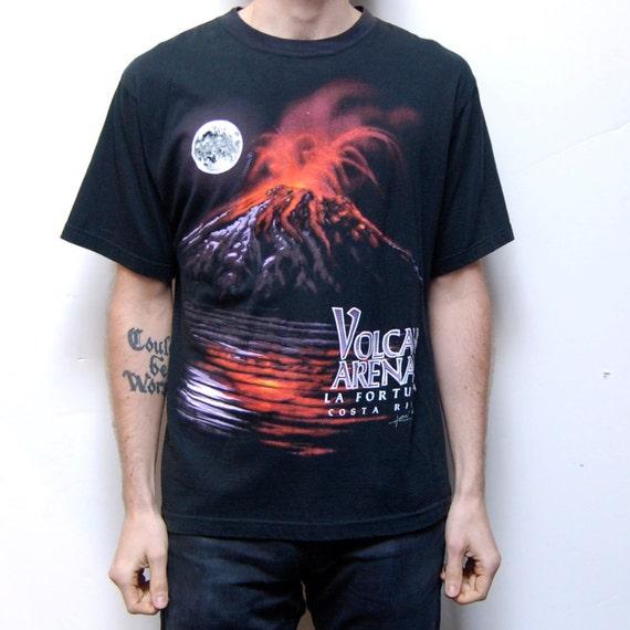 ERUPTING VOLCANO black Costa Rica 80s t-shirt COTTON