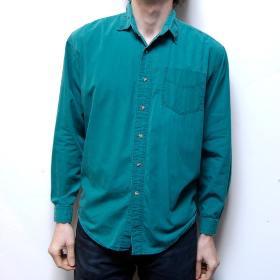 SOLID GREEN  color safari style long sleeve COTTON button up shirt