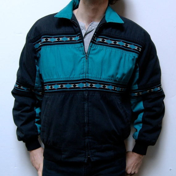 SOUTHWESTERN jacket turquoise zip up NATIVE AMERICAN made in usa