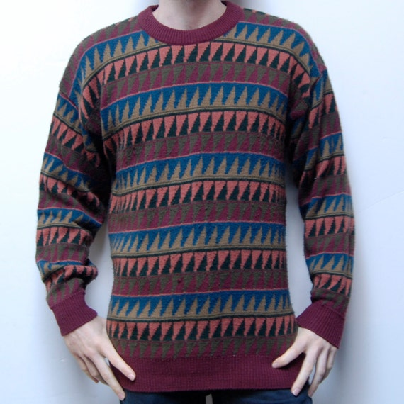 COLOR BLOCK thick knit GEOMETRIC long sleeve sweater