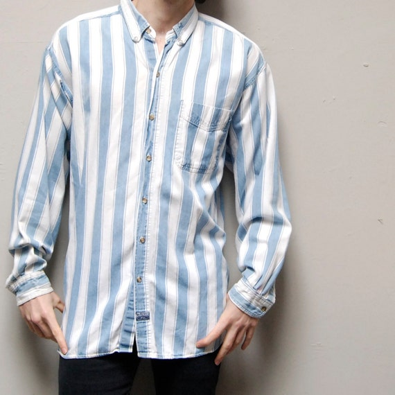 STRIPED DENIM faded COTTON long sleeve button up shirt