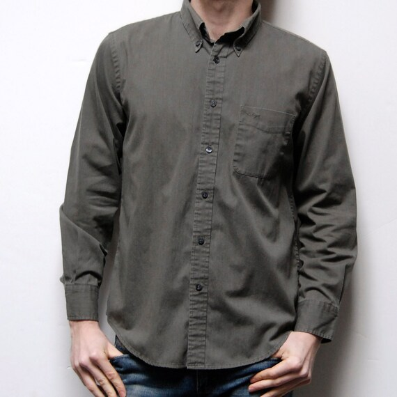 SAFARI solid soft GREEN long sleeve button up