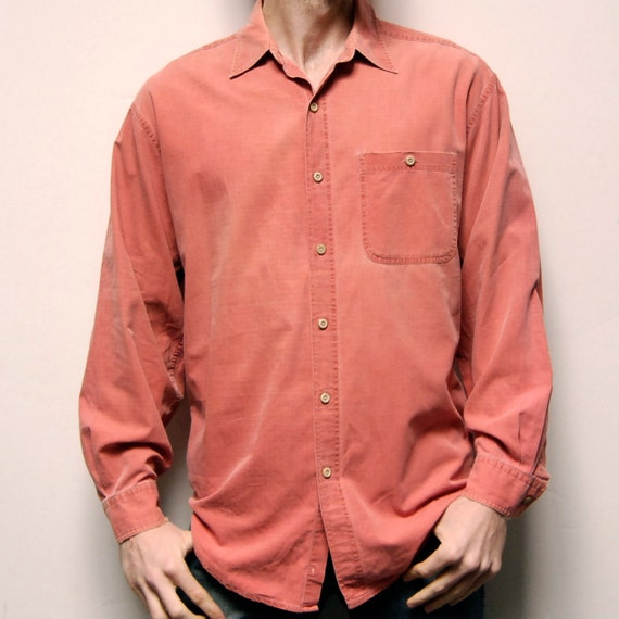 ADOBE solid soft 80s 90s COTTON long sleeve button up