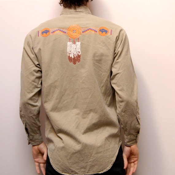 SOUTHWESTERN dream catcher NATIVE AMERICAN long sleeve shirt