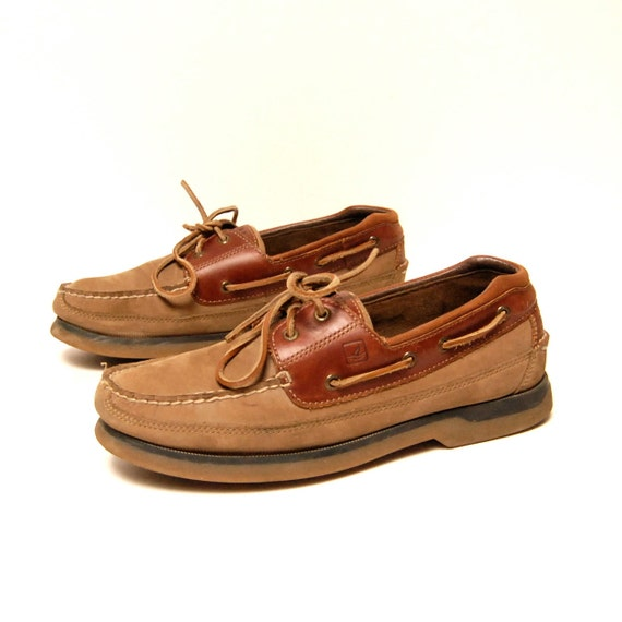mens size 10.5 SPERRY top-sider TAN SUEDE 80's boat shoe loafers