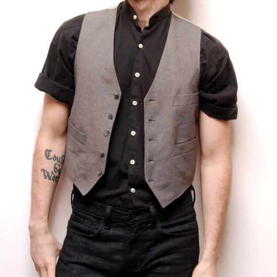 GREY AND SILVER small button up vest