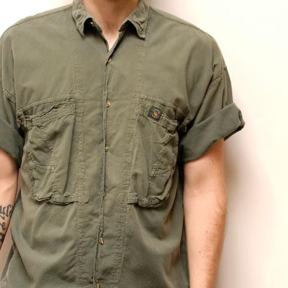 GREEN SAFARI short sleeve cotton LOVERBOY button up shirt