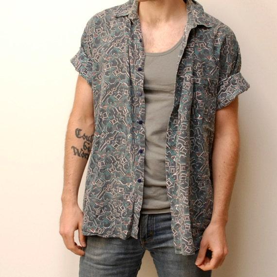 SHAH SAFARI abstract pattern COTTON short sleeve button up shirt