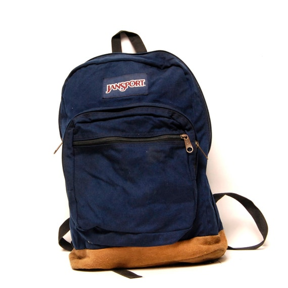 LEATHER JANSPORT vblue canvas classic BACKPACK