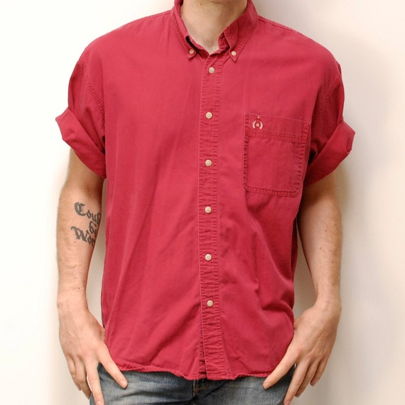 BUGLE BOY solid red oxford COTTON button up shirt