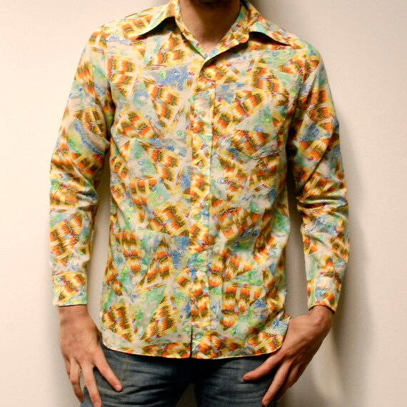 PSYCHEDELIC 70s long sleeve soft all over PRINTED button up shirt