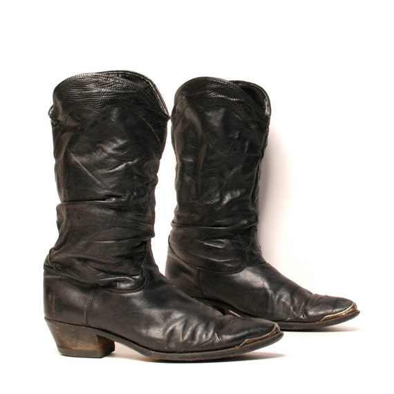 mens size 10.5 SLOUCHY black leather 80's HARNESS motorcycle boots